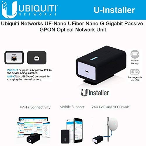 (U-Installer 2.4 GHz airMAX CPE Tool 10/100 Ethernet Port Wi-Fi (24V PoE and 1000mAh Internal Battery))