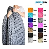 #7: EASTSURE Bulky Knit Throw Chunky Sofa Blanket Hand-Made Super Large Pet Bed Chair Mat Rug