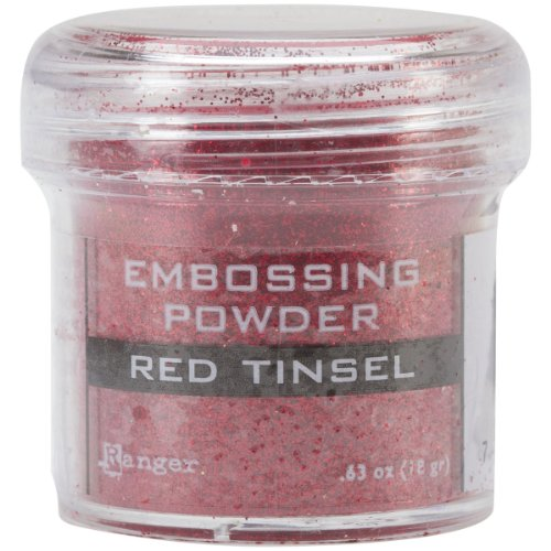 Tinsels Embossing Powder (Ranger Embossing Powder, 1-Ounce Jar, Red Tinsel)