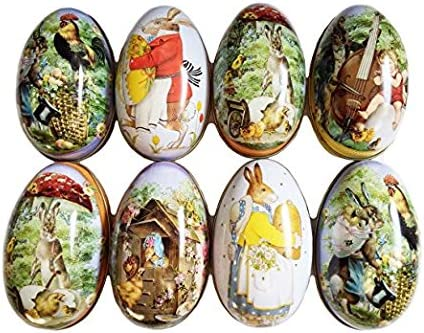 JANIUS Set of 8 Pieces Painted Eggshell Style tin Box for Easter