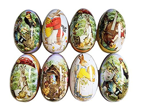 Set of 8 pieces painted eggshell style tin box for Easter