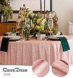 QueenDream pink sequin tablecloth 72'' round sequin overlay pink Glitter Tablecloth sequins tablecloth