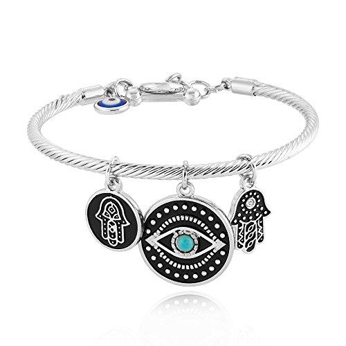 SENFAI Fashion Evil Eye Bracelet Unique Hamsa Bangle Gift Jewelry for Women Best Friend (Silver)