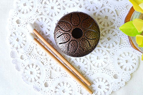 Mini Handmade 3'' Steel Tongue Drum/Mini Handpan, 7 notes, with 2 sticks + leather bag, Sound Therapy, meditation, Healing (Bronze) by WUYOU