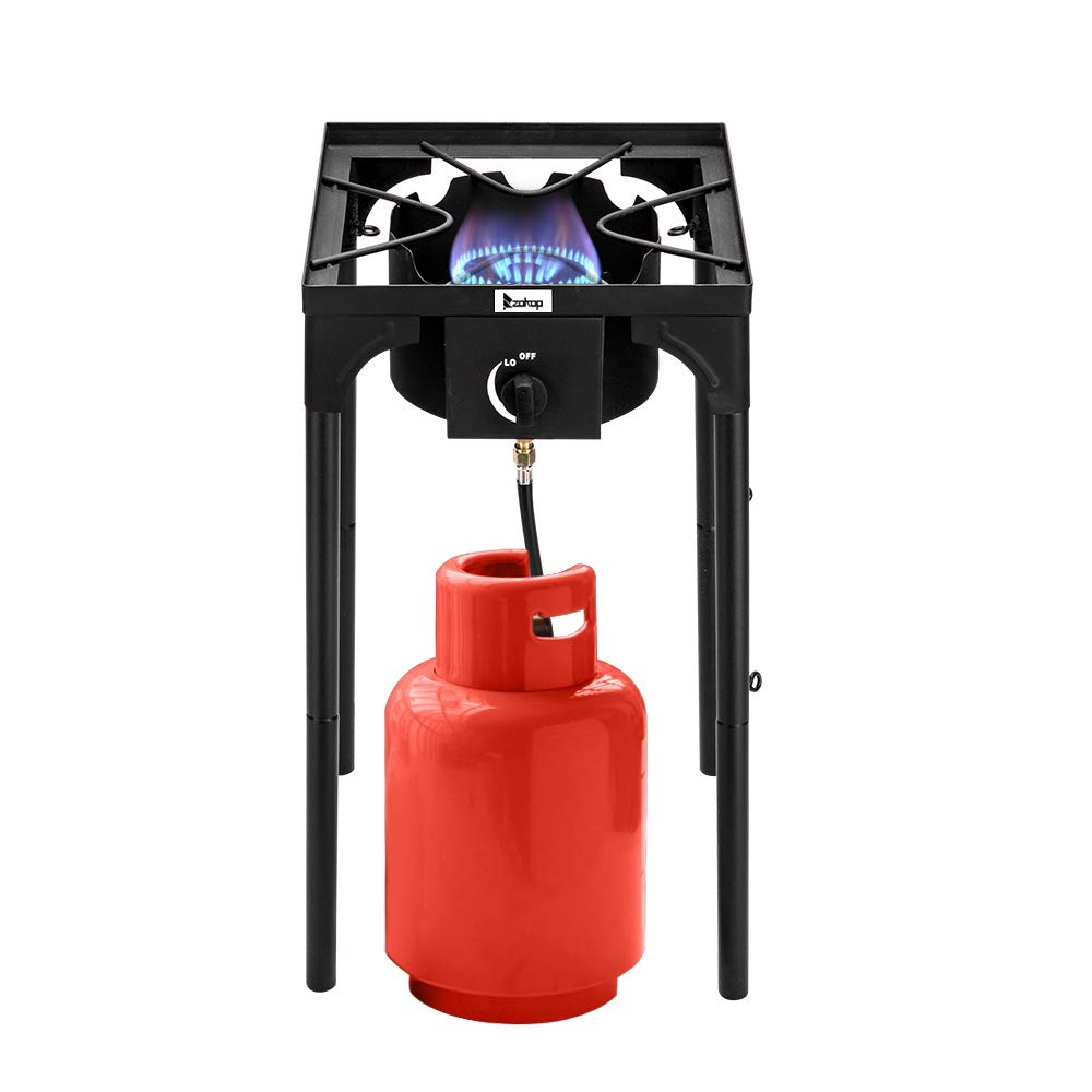 Propane Single Burner, Outdoor Camp Stove High Pressure Propane Gas Cooker, Stand Stove Burner Gas Cooker, Portable Cast Iron Patio Cooking Burner, 0-20PSI High Pressure Regulator and Hose by Shougui