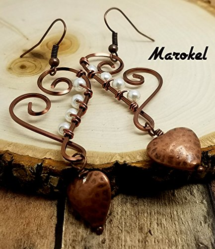 Copper Puff (Hammered Copper Heart Earrings Dangle Wire Wrapped Textured Copper White Pearl)