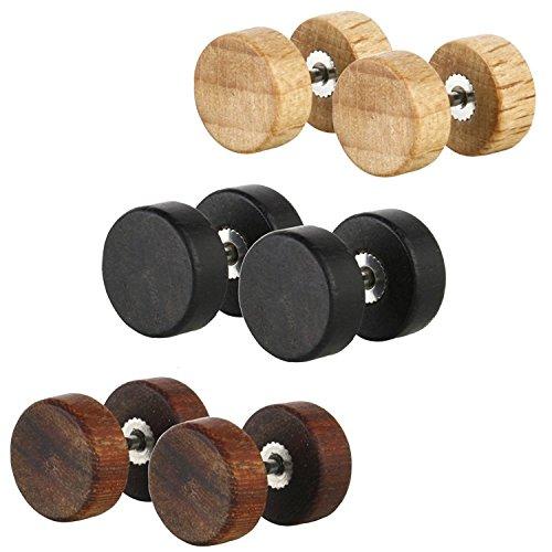 Stud Fake Plug - JewelrieShop Men Earrings Studs Wooden Cheater Fake Plugs 3 Pairs Screw Stud Earrings Set