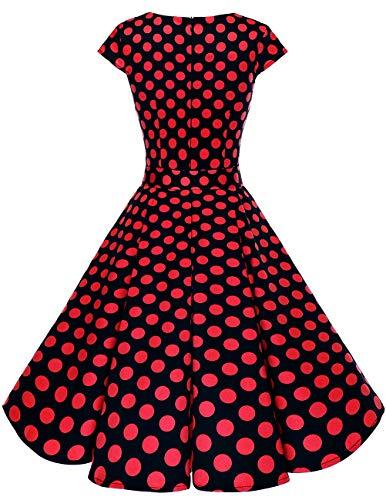 reg;Mujer Cortas 1950s Vestido Black Corto Dot Dresstells Red Mangas Con Retro Vintage 7O8dnxRqw