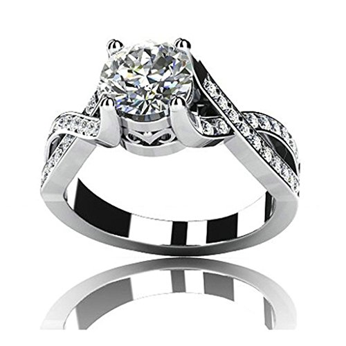 Epinki Custom Ring-925 Sterling Silver Wedding Ring for Women Cubic Zirconia Cross Round Silver US Size 6