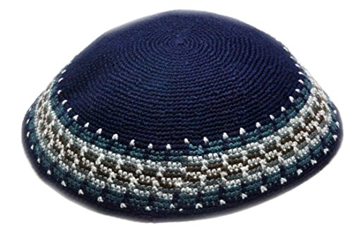 Top-Judaica New 100% Cotton Blue 19CM 7.4INCH Jewish Kippah Yamaka Kipah Yarmulke Hat Skull Cap Kipa