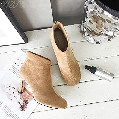 HOESCZS Womens Shoes Autumn and Winter New Round Head High-Heeled Ankle Boots Womens Fashion Womens Boots Back Zipper Ladies Martin Boots