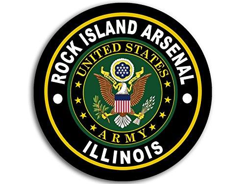 American Vinyl Round Rock Island Arsenal Army Base Sticker (Logo Insignia Emblem il)