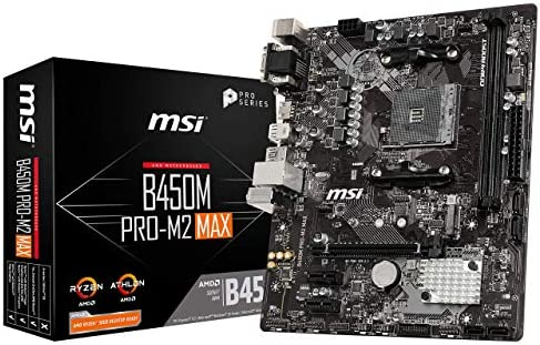 MSI ProSeries AMD Ryzen 1st and 2ND Gen AM4 M.2 USB 3 DDR4 D-Sub DVI HDMI micro-ATX Motherboard (B450M PRO-M2 Max) (B450MPM2MAX)