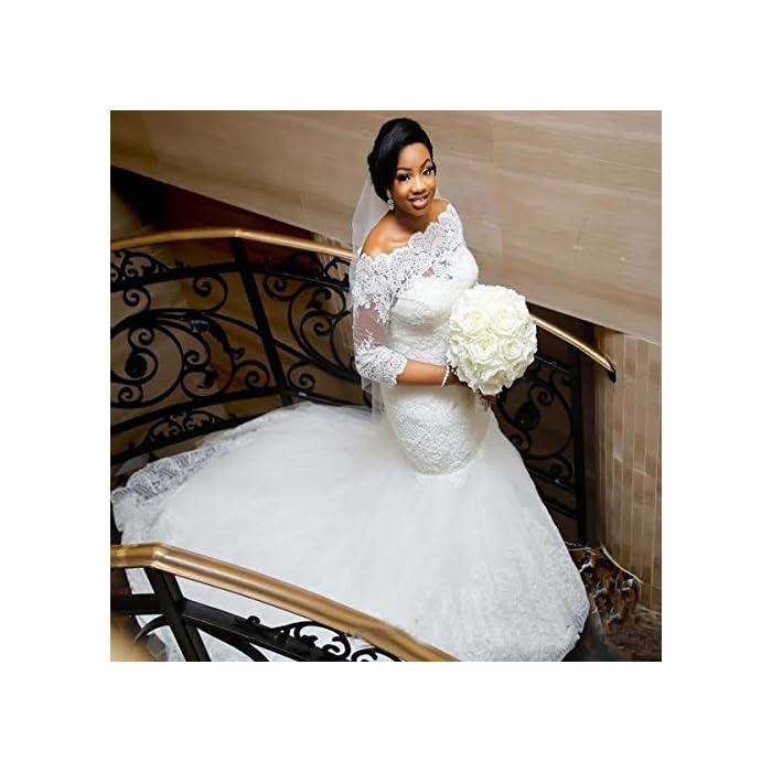 Yuxin Elegant Plus Size Wedding Dress 2019 Long Sleeves Appliqued Lace Mermaid Bridal Gowns White
