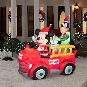 6 tall disney christmas mickey mouse goofy fire dept truck airblown inflatable by gemmy
