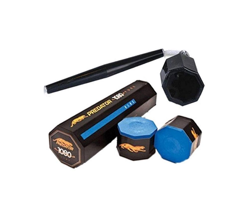 Predator Chalk 1080 Pure 5 Pieces Blue with Action Octagon Style Cue Chalker by Predator