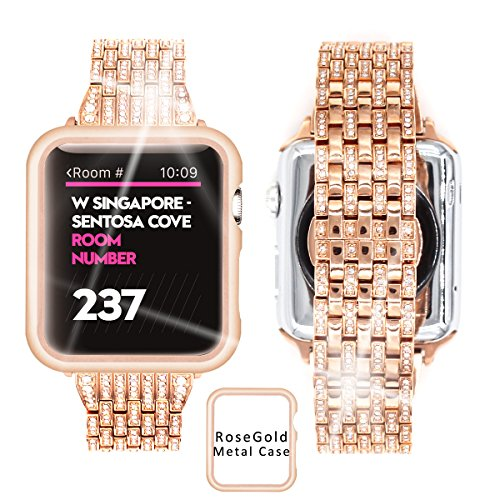 Diamond Watch Bands For Iwatch, Rhinestone Luxury Diamond Stainless Steel Rose Gold Metal Bracelet Replacement Strap With Aluminum Case For Apple Watch 38mm 42mm series 1 / 2 / 3 (Rose Gold, 42mm)