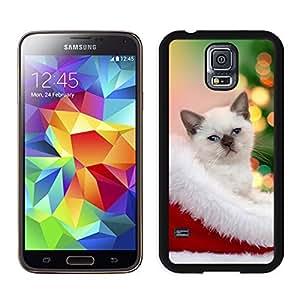 MEIMEIDesign for Mass Customization Christmas Cat In Hat Samsung Galaxy S5 Black Silicone Case,Samsung I9600 CaseMEIMEI