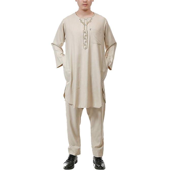 Zhhlinyuan Medio Este Musulmanes Camisa con Pantalones Islámico Trajes Batas - de los Hombres Vendimia Casual Vestido Islámico Vestir: Amazon.es: Ropa y ...