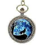 UNION ONE Moon Wolf Quartz Glass Cabochon Groomsman Pocket Watches Fob (Brass)