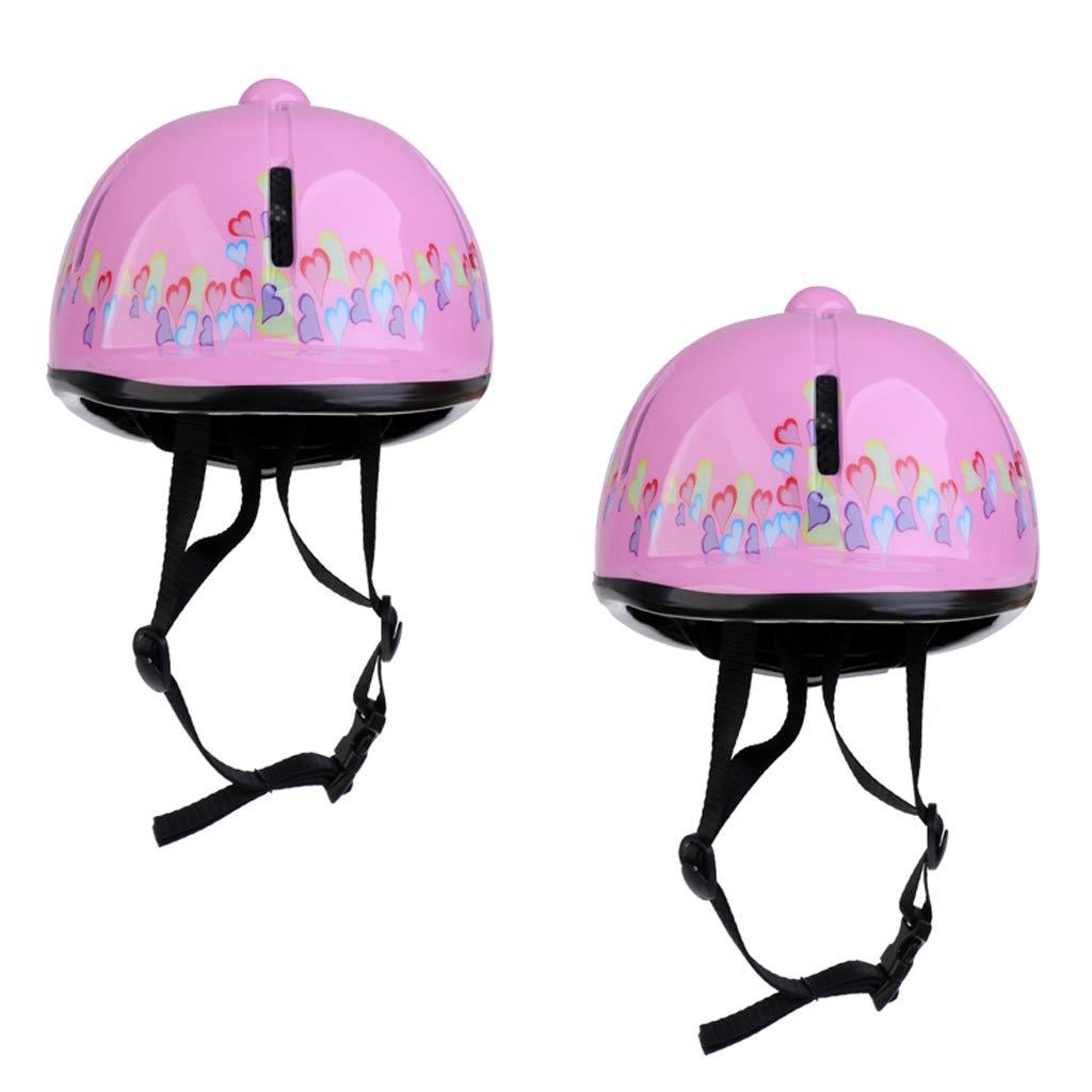 SM SunniMix 2pcs Professional Adjustable Kids Horse Riding Equestrain Hat, Pink