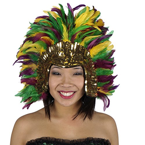 Mardi-Gras Carnival Costume Feather Headdress - Halloween Cosplay Party Hair Accessories -