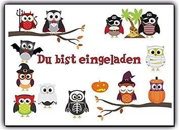 Eulen Einladungskarten Grusel Faktor Halloween Karneval Kindergeburtstag (8  Stück) Halloweenparty Jungen Mädchen Kinder Geburtstag