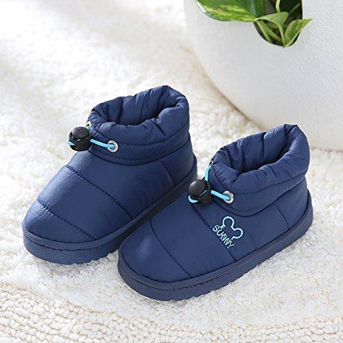 Inverno fankou pantofole di cotone borse donna con i bambini è spesso anti-skid impermeabile a casa con piscina il cotone scarpe, 23 metri [22cm interna], bambini blu scuro