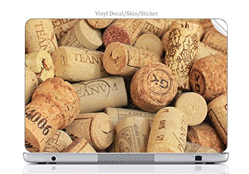 (Laptop VINYL DECAL Sticker Skin Print Wine and Champagne Corks Pattern Background fits Pavilion dv5000 -2007 model)