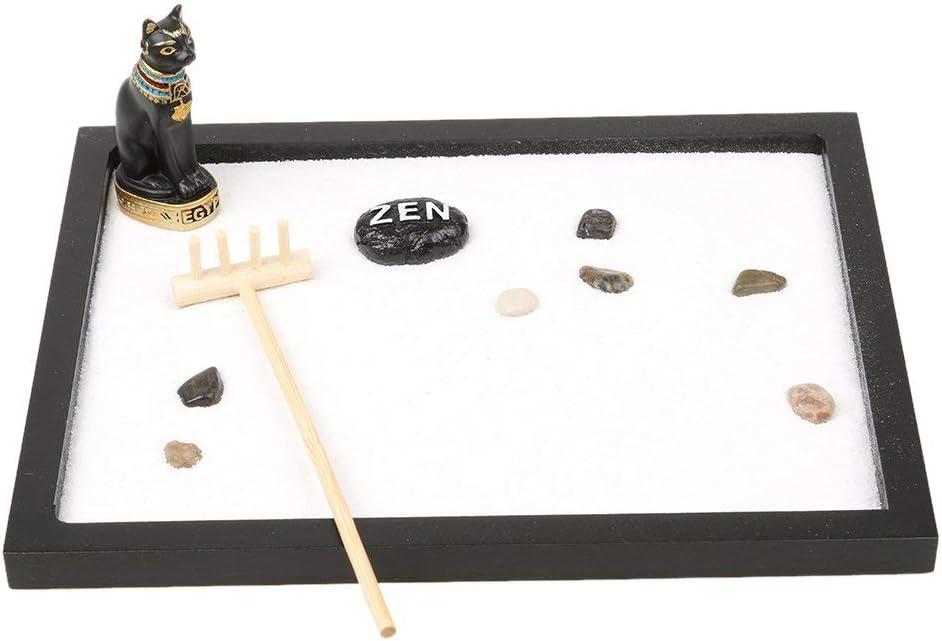 N/Y Mini Zen Garden Sand Stones Rake Buddha Tealight Holder Incense Burner Relax Spiritural Meditation Decor - Egyp Cat