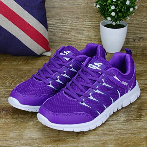 Zapatillas Unisex Hombre Moda Ligero Mujer de Deportes Casuales Trotar Púrpura Sneakers Deportes Corriendo Gimnasio Zapatos Respirable Zapatillas 58Awq8Tp