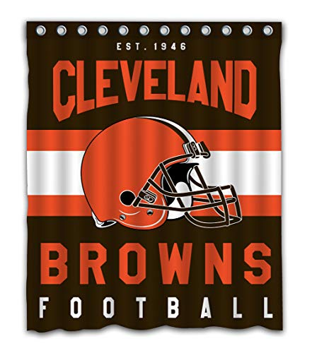 (Weckim Custom Cleveland Football Team Waterproof Fabric Shower Curtain Colorful Design for Bathroom Decor 12 Holes Size 60x72 Inches)