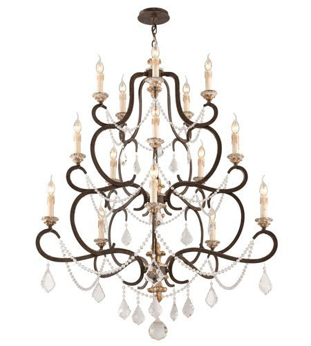 Chandeliers 15 Light with Parisian Bronze Finish Hand-Worked Iron and Wood Material Candelabra 53 inch Long 900 Watts