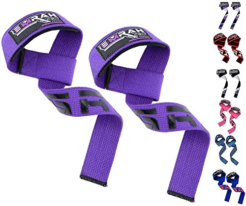 EMRAH Weight Lifting Gym Straps Crossfit Wrist Support Wraps Hand Bar Bodybuilding Training Workout (Purple, Standard)