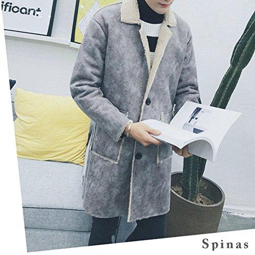Spinas(スピナス)メンズフェイクムートンコートハーフ丈あったか裏ボアハーフコート全2色(ブラックグレー)
