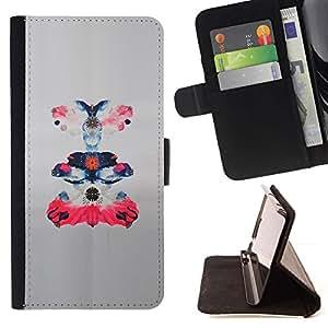 For Samsung Galaxy Core Prime / SM-G360 Case , Arte de papel Paper Bird Pink Bosquejo floral- la tarjeta de Crédito Slots PU Funda de cuero Monedero caso cubierta de piel