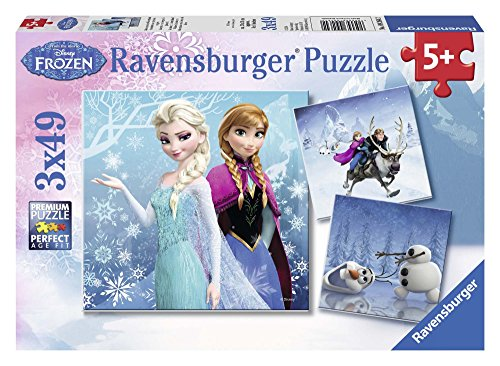 - Ravensburger Disney Frozen Winter Adventures Puzzle Box 3 x 49-Piece Jigsaw Puzzles for Kids - Every Piece is Unique, Pieces Fit Together Perfectly