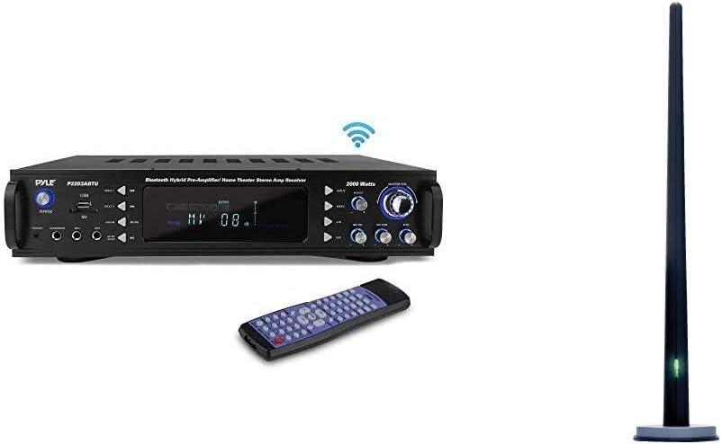 Pyle 4-Channel Bluetooth Home Power Amplifier - 2000 Watt Audio Stereo Receiver w/Speaker Selector & TERK Amplified AM/FM Stereo Indoor Antenna