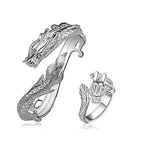 Anillo de plata del dragón de las mujeres plateó la pulsera del banquete de boda del anillo de la cadena del cuerpo del conjunto