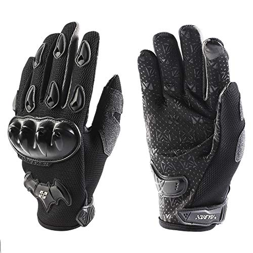 NPET XUEYU Motorcycle Gloves Dirt Bike Motocross Motorbike Power Sports Bike Cycling Racing Gloves Back and Palm TPU Protection Anti-Slip Touch Recognition Full Finger Glove Black XL