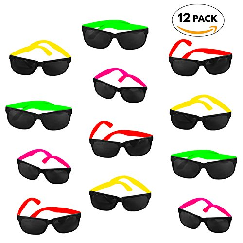 Eighties Theme Party Costume Ideas (12 Pack 80's Style Neon Party Sunglasses - Fun Gift, Party Favors, Party Toys, Goody Bag Favors)