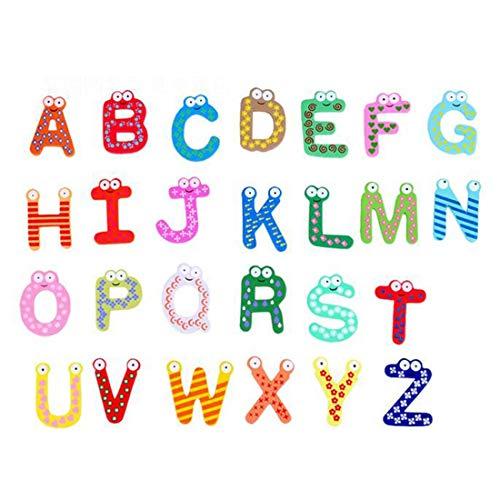 WHFC Fridge Magnets, 26 Pcs Alphabet Muliticolor Cute Cartoon Refrigerator Office Magnet for Calendars Whiteboards Maps Wooden Fun Decorative
