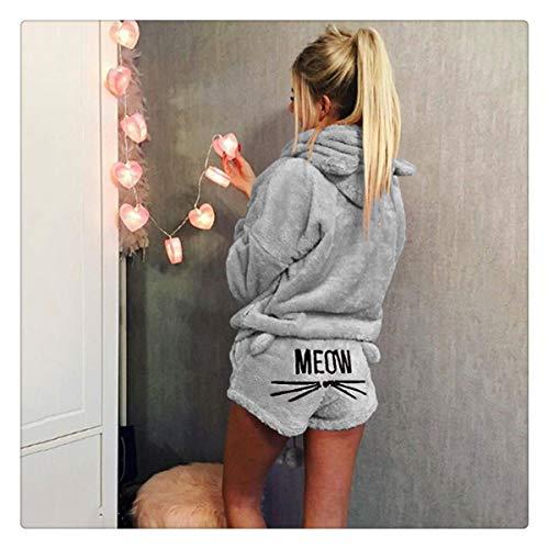 Women Coral Velvet Suit Two Piece Autumn Winter Pajamas Warm Sleepwear Cute Cat Meow Pattern Hoodies Shorts Set Gray L]()
