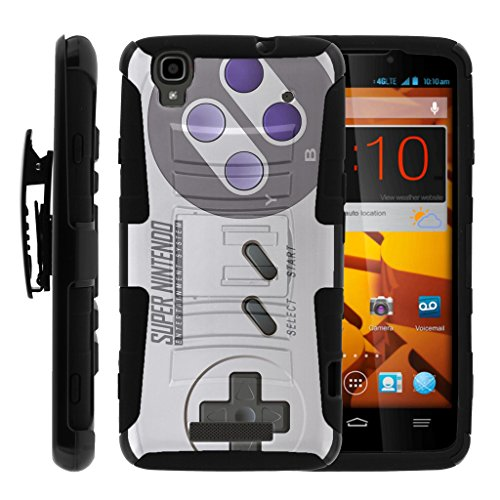 Cheap TurtleArmor   Compatible for ZTE Max+ Plus Case   ZTE Max Case   Max Boost [Hyper Shock] Hybrid Dual Layer Armor Holster Belt Clip Case Kickstand – Classic Game Controller