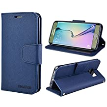 Galaxy S6 Edge Case, S6 Edge Leather Case, Folio Wallet Card Slot Cover with Mangetic Closure, Hand Strap and Stand Function for Samsung Galaxy S6 Edge (Dark Blue)