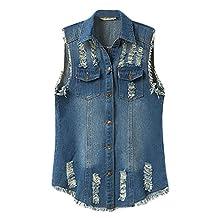 Women's Girls Sleeveless Relaxed Denim Vest Jeans Jacket Plus Size