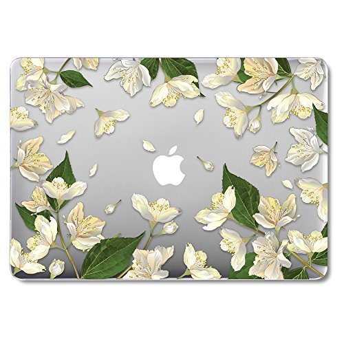 GMYLE MacBook Air 13 Inch Case A1466 A1369 Old Version 2010 2017, Hard Shell Plastic Clear Crystal Glossy Snap On Cover (White Floral Bloom) (Macbook Air Case Glossy)