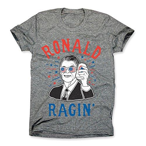 HG Apparel Ronald Ragin Shirt - Funny Ronald Reagan T-Shirt - Mens 4th of July Tee (Medium, Heather Gray) ()