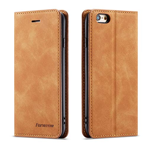 QLTYPRI iPhone 6 Plus 6S Plus Case, Premium PU Leather Cover TPU Bumper with Card Holder Kickstand Hidden Magnetic Adsorption Shockproof Flip Wallet Case for iPhone 6 Plus 6S Plus - Brown
