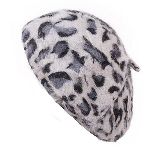 (EAPTS Women Winter Beret Cap Rabbit Fur Leopard Printed Beanie Artist Hat Vintage Warm (Gray))